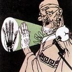 Pariser Karikatur von vor 100 Jahren, Hippokrates beim Betrachten seines Röngenbildes zeigend